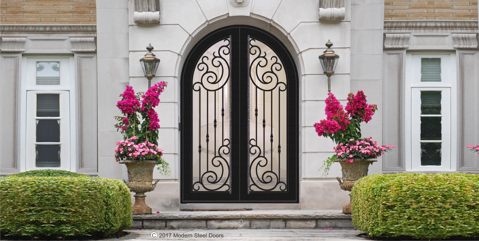 IRON DOORS WITH DECORATIVE GLASS - HOME IMPROVEMENT OUTLET