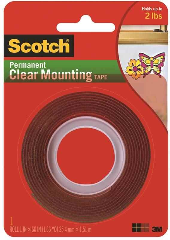 "SCOTCH PERMANENT CLEAR MOUNTING TAPE 1"" X 60"" - HOME IMPROVEMENT OUTLET"