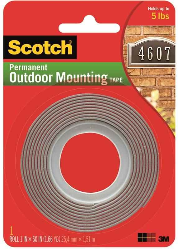 "SCOTCH PERMANENT OUTDOOR MOUNTING TAPE 1"" X 60"" - HOME IMPROVEMENT OUTLET"