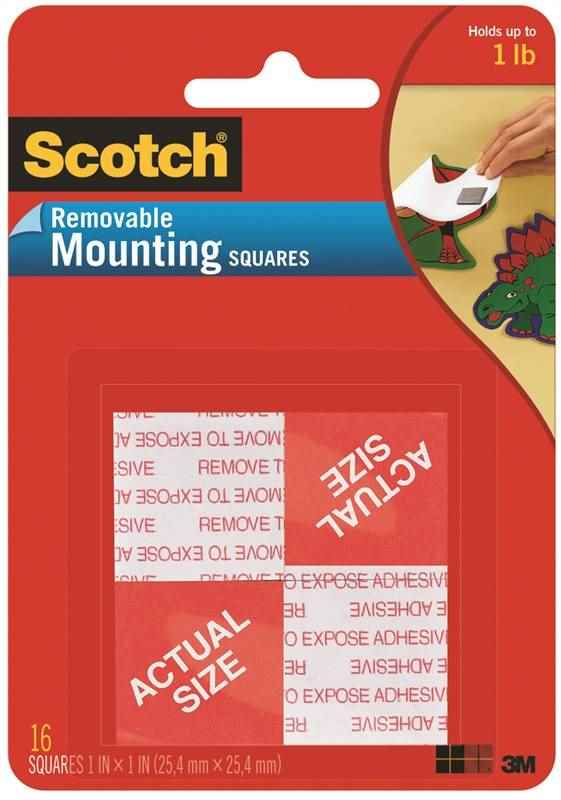 "SCOTCH REMOVABLE MOUNTING SQUARES 16 PK 1"" - HOME IMPROVEMENT OUTLET"