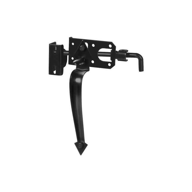 National Hardware - Ornamental Gate Latch - N178-616 / Black Powder Coated - HOME IMPROVEMENT OUTLET