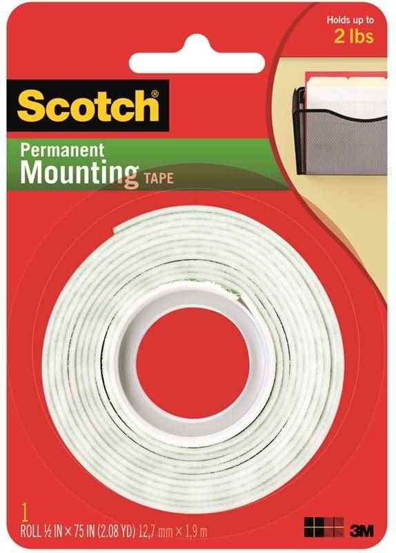 "SCOTCH PERMANENT MOUNTING TAPE 1/2"" X 75"" - HOME IMPROVEMENT OUTLET"