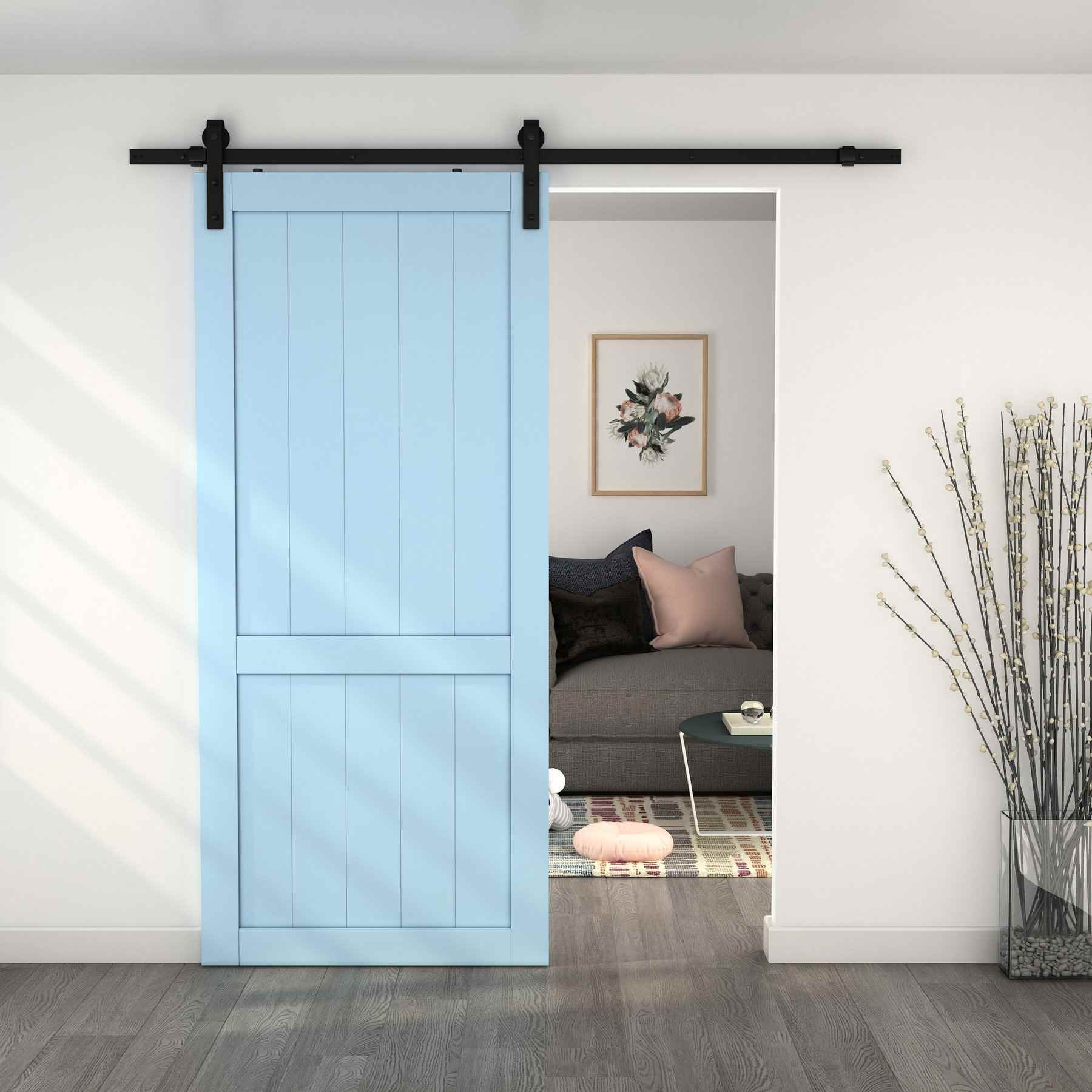 "Barn Door Track Set - 36"" Doors Matte4 Black - HOME IMPROVEMENT OUTLET"