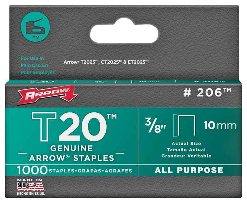 "STAPLES - #206 T20 FLT CRWN 3/8"" 1000BX - HOME IMPROVEMENT OUTLET"